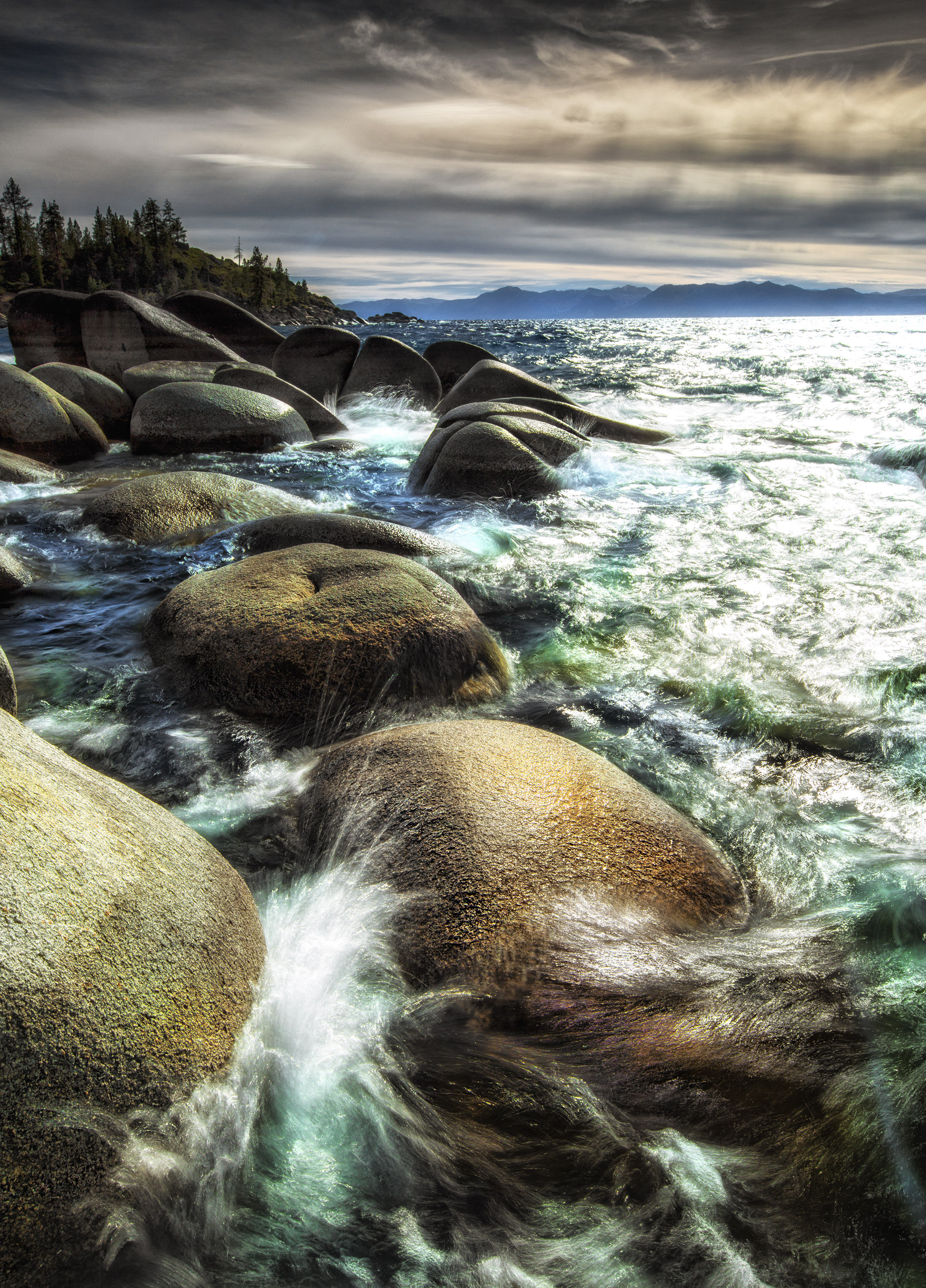 Rocks on the shore at incline VIllage, Lake Tahoe, Nevada
